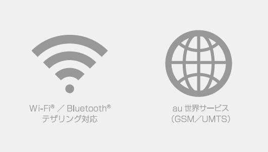 Wi-Fi® / Bluetooth®搭載、au世界サービス対応